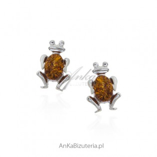 Kolczyki srebrne małe żabki z bursztynem.