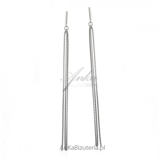 Kolczyki srebrne rodowane długie wiszące łańcuszki - bizuteria włoska Dall Acqua