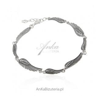Bransoletka srebrna oksydowana - bransoletka Skrzydła Anioła