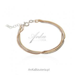 Bransoletka srebrna rodowana i pozłacana w 3 kolorach - Klasyczna biżuteria