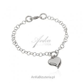 Bransoletka srebrna z sercem Biżuteria włoska