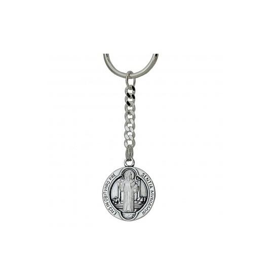Brelok srebrny z wizerunkiem św. Benedykta