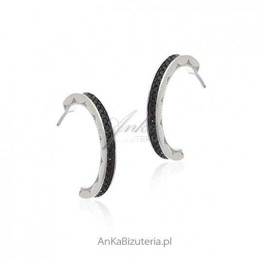 Kolczyki srebrne z czarnymi cyrkoniami Biżuteria włoska Dall Acqua