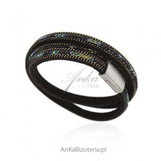 Bransoletka czarna alcantra z kolorowymi cyrkoniami