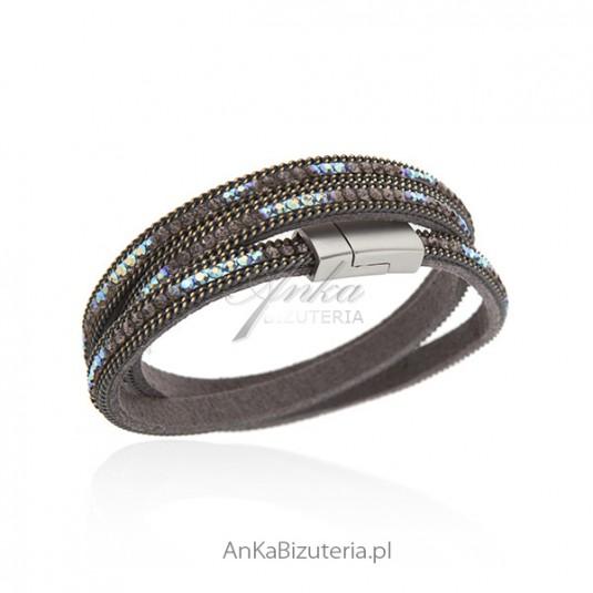 Bransoletka szara alcantra z kolorowymi kryształkami