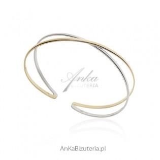 Bransoletka srebrna pozłacana - Piękna elegancka biżuteria