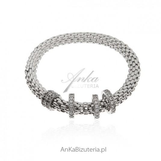 Bransoletka srebrna włoska z cyrkoniami