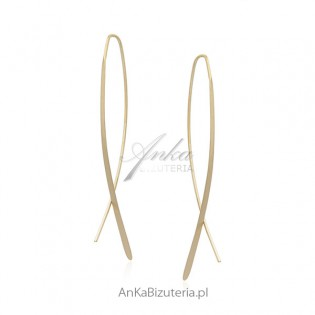 Długie kolczyki srebrne pozłacane PAŁECZKI 6 cm