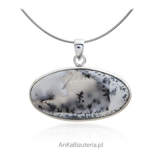 Srebrna zawieszka z pięknym naturalnym kamieniem DENDRITE
