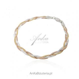 Bransoletka srebrna WARKOCZ - w trzech kolorach 19 cm