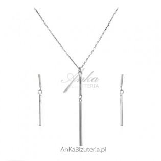 Komplet biżuteria srebrna rodowana - Kolczyki i naszyjnik -biżuteria srebrna włoska