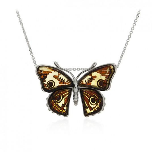 Biżuteria srebrna MOTYLEK - piękna zawieszka z bursztynem