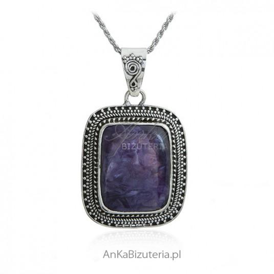 Zawieszka srebrna z pięknym czaroitem - Biżuteria srebrna unikat