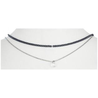 Naszyjnik srebrny z hematytem i kryształem Swarovski
