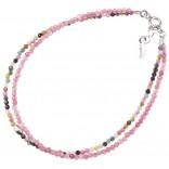 Bransoletka srebrna z kamieniami szlachetnymi -różowe rubiny , szmaragdy
