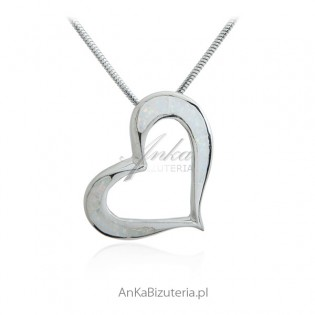 Zawieszka srebrna SERCE z białym opalem - ASYMETRIA