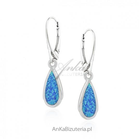 Biżuteria srebrna - Kolczyki srebrne z niebieskim opalem - KROPLE ROSY