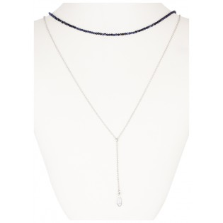Biżuteria srebrna z syntetycznym szafirem i łańcuszkiem z piórkiem