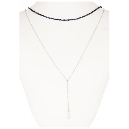 b6d27f0cba0ed7 Biżuteria srebrna z syntetycznym szafirem i łańcuszkiem z piórkiem