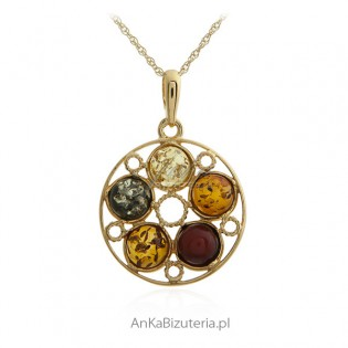 Biżuteria srebrna - Zawieszka srebrna pozłacana z bursztynem