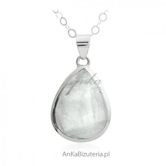Piękny kamień księżycowy - zawieszka srebrna z niezwykłym kamieniem