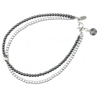Biżuteria srebrna Bransoletka srebrna z hematytem