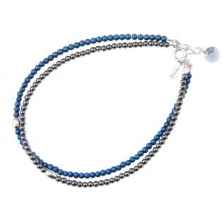 Biżuteria srebrna bransoletka z hematytem i kryształem Swarovski