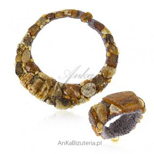 Niezwykła biżuteria artystyczna z naturalnym bursztynem - Komplet