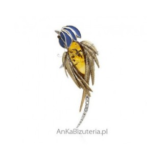 Srebrna broszka z bursztynem - PAPUGA ARA