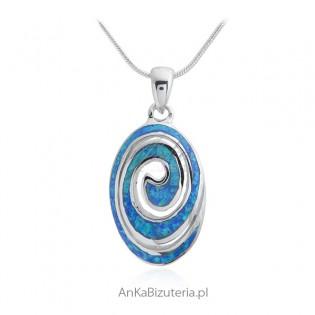 Biżuteria srebrna z opalem - Zawieszka srebrna z niebieskim opalem owalny ślimak