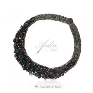 Piękna biżuteria artystyczna ręcznie robiona z kryształami i perłami Swarovski