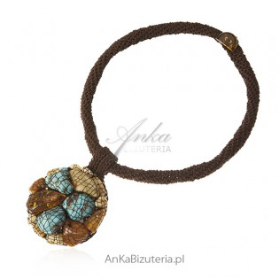 Piękna autorska biżuteria ręcznie robiona z bursztynem i turkusami