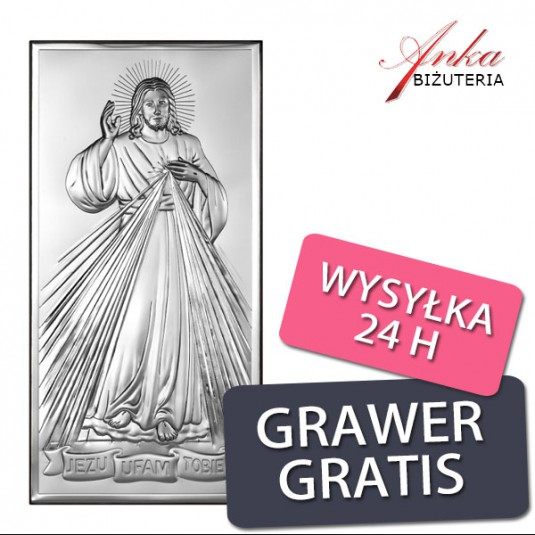 Pamiątka na Prezent - obrazek srebrny JEZU UFAM TOBIE