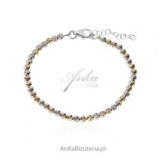 Bransoletka srebrna diamentowane kuleczki - trzy kolory