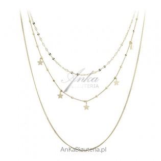Oryginalna biżuteria srebrna pozłacana - Naszyjnik KASKADA