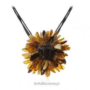 SŁONECZNIK - Zawieszka z bursztynem - biżuteria artystyczna - na rzemykach
