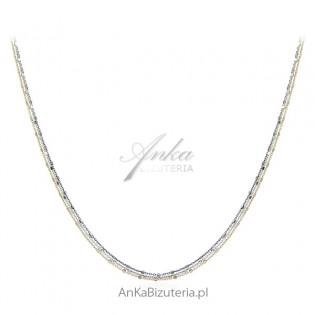 Srebrna biżuteria włoska - Piękny naszyjnik srebrny w 3 kolorach