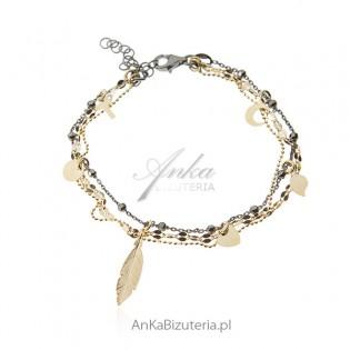 Bransoletka srebrna z przywieszkami pozłacana i rutenowana - biżuteria włoska