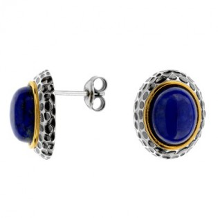 Kolczyki srebrne oksydowane i pozłacane z Lapis Lazuli