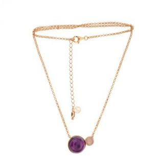 Piękna biżuteria srebrna pozłacana różowym złotem z ametystem i różowym kwarcem