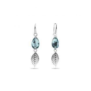 Kolczyki srebrne z kryształkami Swarovski - LEAF LIGHT TURQUOISE