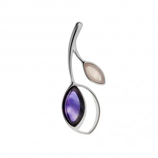 Biżuteria srebrna komplet z ametystem i różowym kwarcem