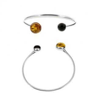 Wytworna srebrna bransoletka z bursztynem