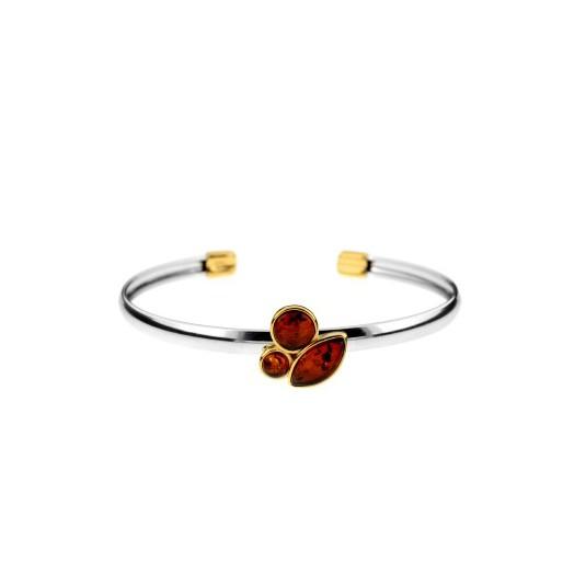 Biżuteria srebrna - Bransoletka srebrna z bursztynem pozłacana
