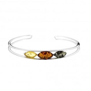 Srebrna bransoletka z kolorowym bursztynem - oryginalna biżuteria z bursztynem