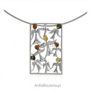 Zawieszka srebrna z bursztynem TANIEC ANIOŁÓW
