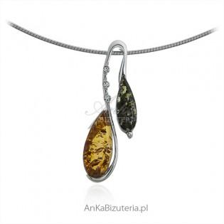 Biżuteria srebrna z koniakowym i zielonym bursztynem