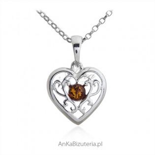Biżuteria srebrna z bursztynem Ażurowe SERCE