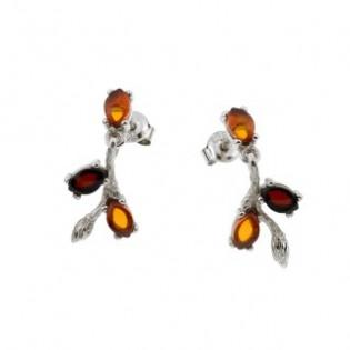 Biżuteria srebrna bursztynowa - Srebrne kolczyki z bursztynem
