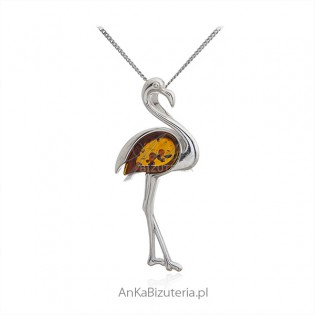 Biżuteria srebrna - Srebrna zawieszka z bursztynem FLAMING